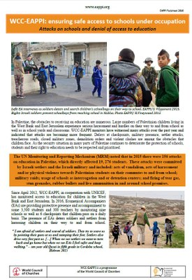 Ensuring safe access to schools under occupation - 2016